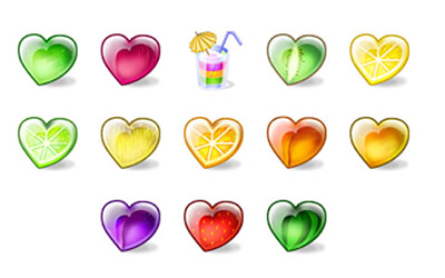 Скачать Fruity Hearts Icons