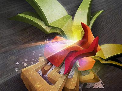 Эксперименты с пространством, 3D объектами и ярким цветом от Dobak Zsolt