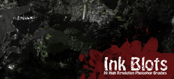 Скачать Ink Blots: 20 Photoshop Brushes
