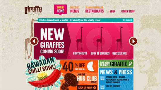 Перейти на Giraffe Restaurants