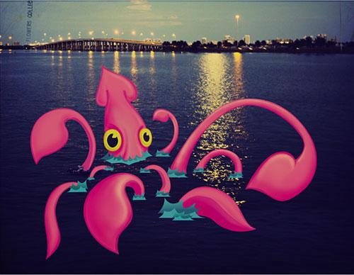 Создаем в фотошопе винтажный коллаж из фото и нарисованного кальмара