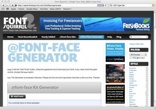 Перейти на @font-face Generator