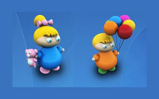 Скачать Kids with Toys Icons