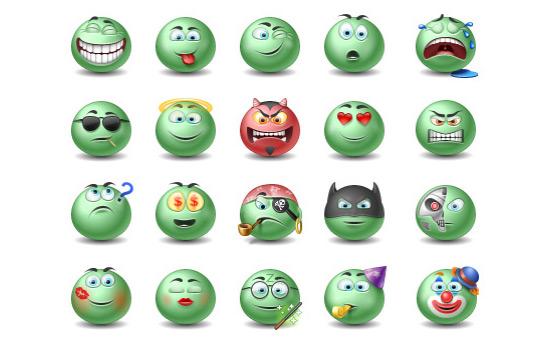 Скачать Green Emotiocns Icons Set