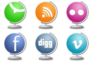 Скачать Globe Social Icons By Land Of Web