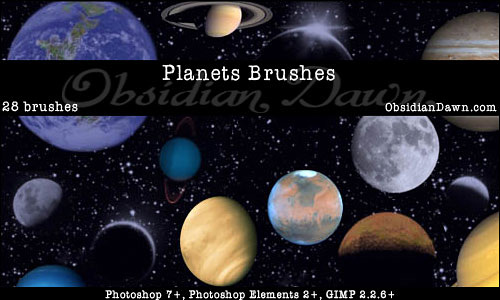 Скачать Planets Photoshop Brushes