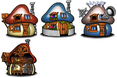 Скачать Smurf Houses Icons By Troyboydesign