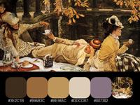 20 готовых цветовых палитр винтажных картин художника Джеймса Тиссо