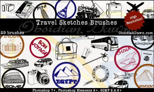 Скачать Travel Sketches Brushes