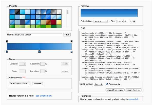Перейти на Ultimate CSS Gradient Generator by ColorZilla