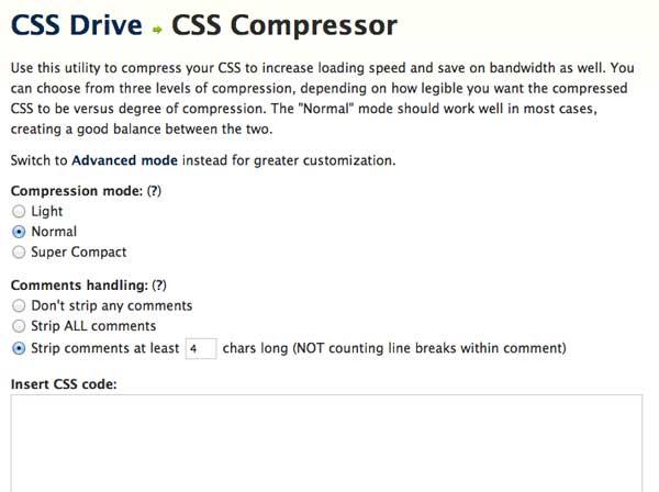 Перейти на CSS Compressor by CSS Drive