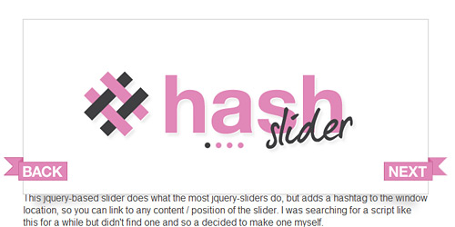 Перейти на Hash Slider/