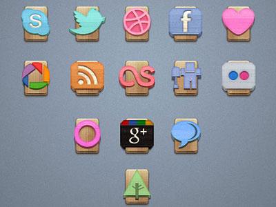 Скачать Free Wood Social Icons Vol1