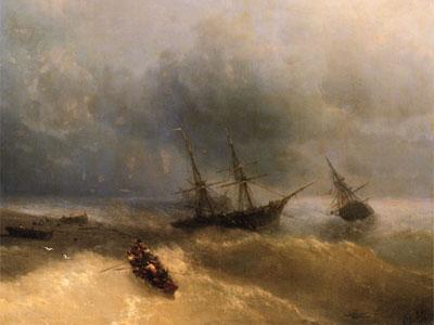Бушующие волны и кораблекрушения на картинах Айвазовского