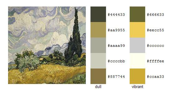 Палитра цветов с картин Винсента ван Гога 7