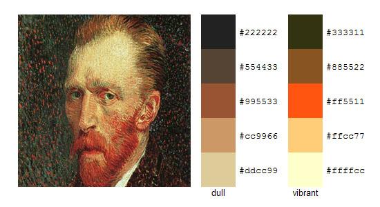 Палитра цветов с картин Винсента ван Гога 13