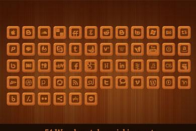 Скачать Wooden style social icon set