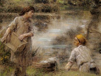Laveuses bord de Marne ou Lavandiere et sa fille au bord de la riviere