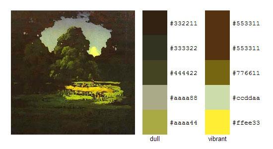 Палитра цветов с картин Архипа Куинджи 11