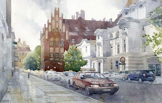 Городские улицы и дома в акварели польского художника Grzegorz Wrobel