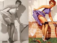 20 классических пин-ап девушек в оригинале и на готовой картинке