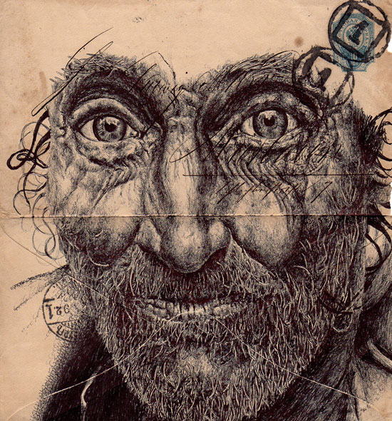Морщины как линии жизни на почтовых марках от художника Mark Powell