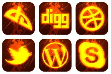 Скачать Hot Burning Social Icons By Graphics Vibe