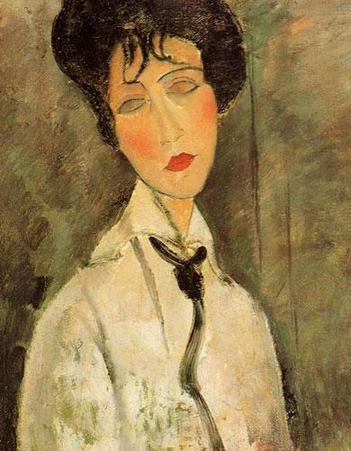 Портрет женщины в черном галстуке