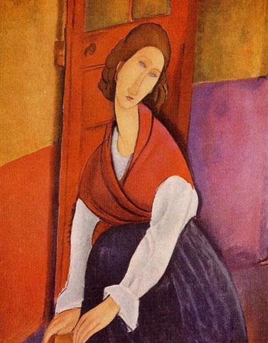Жанна Эбютерн в красной шали