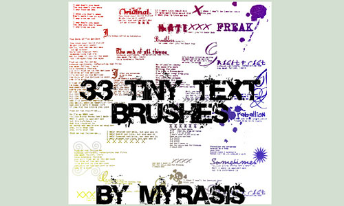 Скачать 33 Tiny Text Brushes