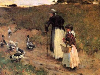 Old Woman With Child And Goose