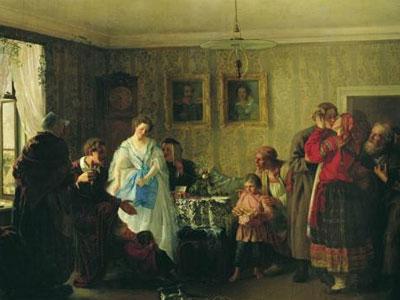 Поздравление молодых в доме помещика