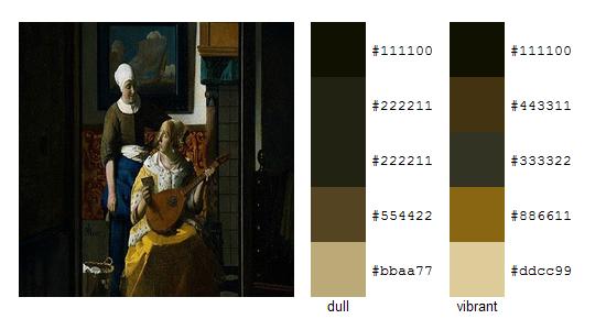Палитра цветов с картин Яна Вермеера 11
