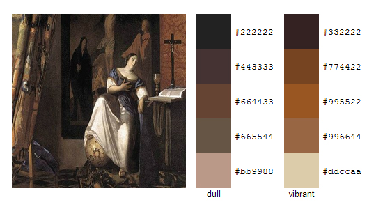 Палитра цветов с картин Яна Вермеера 13