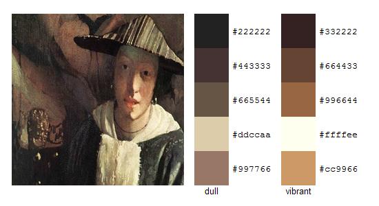 Палитра цветов с картин Яна Вермеера 17