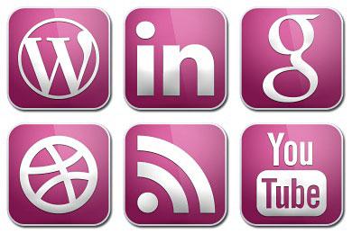Скачать Purple Glossy Social Icons