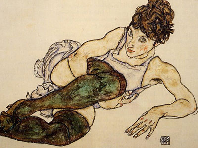 Reclining Woman With Green Stockings Adele Harms
