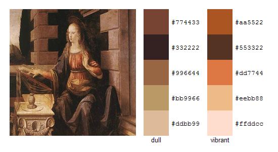Палитра цветов с картин Леонардо да Винчи 7