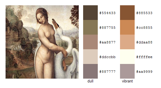 Палитра цветов с картин Леонардо да Винчи 13