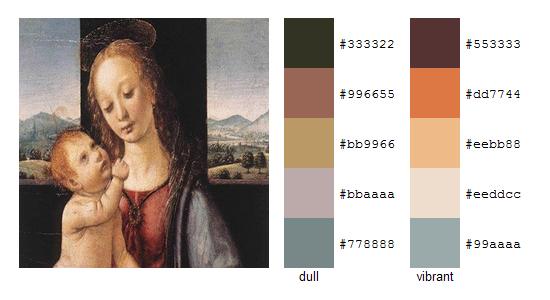 Палитра цветов с картин Леонардо да Винчи 14