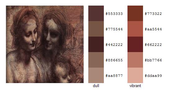 Палитра цветов с картин Леонардо да Винчи 15