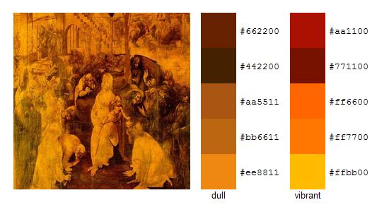 Палитра цветов с картин Леонардо да Винчи 19