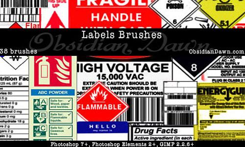 Скачать Labels Photoshop Brushes