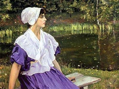 Девушка на берегу пруда