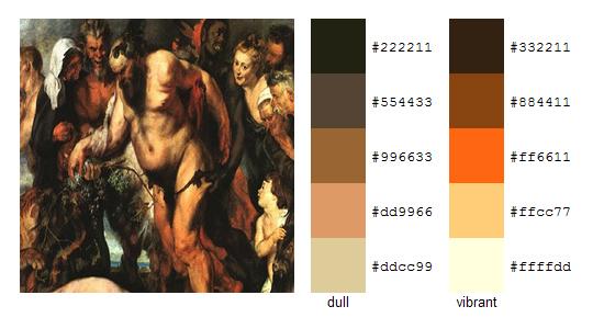 Палитра цветов с картин Рубенса 3