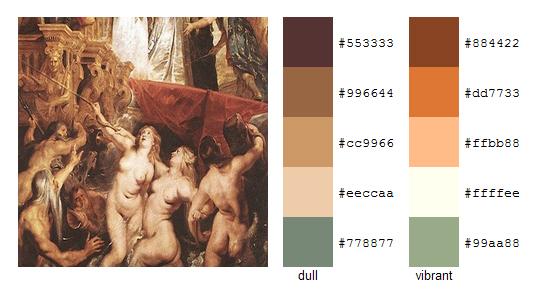 Палитра цветов с картин Рубенса 4