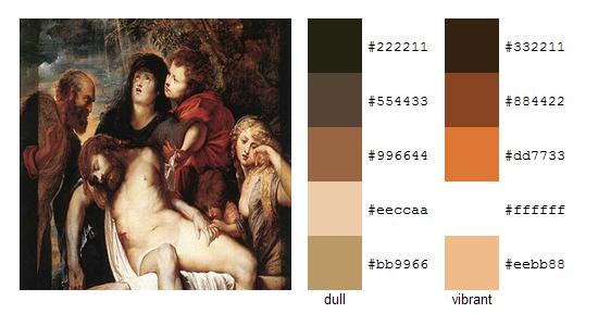 Палитра цветов с картин Рубенса 7