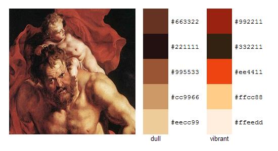 Палитра цветов с картин Рубенса 11