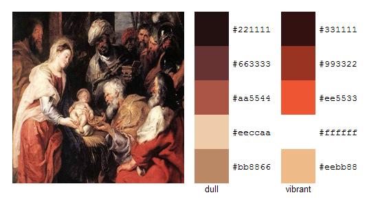 Палитра цветов с картин Рубенса 12
