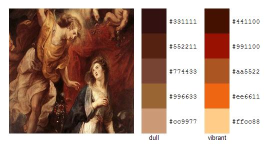 Палитра цветов с картин Рубенса 13